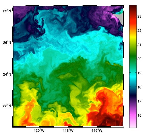 Image de température de Surface infrarouge MODIS-AQUA (Californie) - © E. Autret (LOPS)